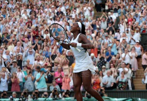 Cori Gauff celebrates victory in her match against Polona Hercog