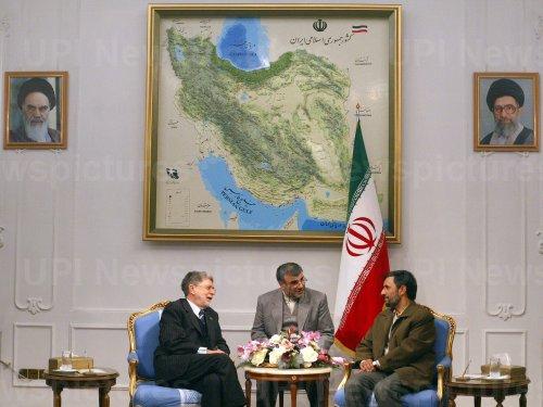 Iran's President Mahmoud Ahmadinejad meets Brazilian Foreign Minister Celso Amorin.