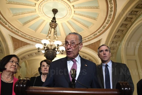 Democratic leaders brief press after weekly policy lunch on Capitol Hill