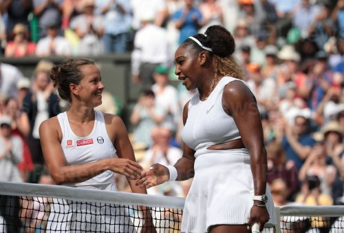 Serena Williams consoles Barbora Strycova after Semi-Final defeat.