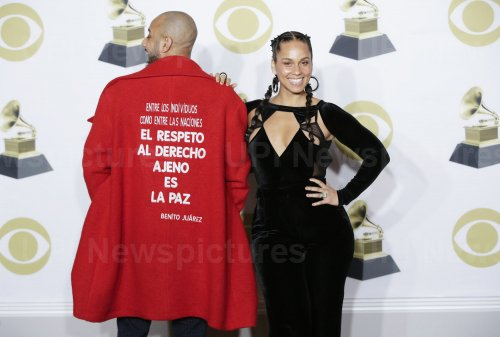Swizz Beatz and Alicia Keys at 60th Annual Grammy Awards in New York