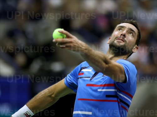 Marin Cilic serves at the US Open