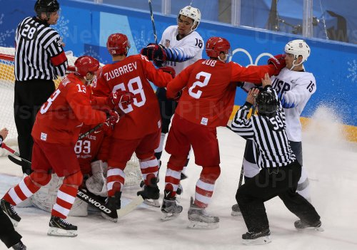 Men's Ice Hockey Game Between USA And Russia At The 2018 Pyeongchang Winter Olympics