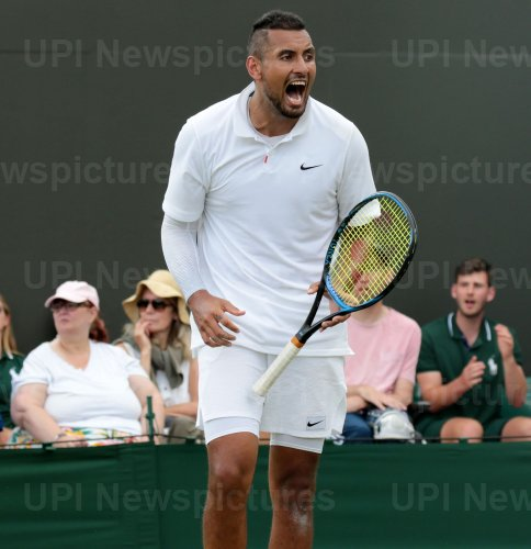 Nick Kyrgios celebrates a point in first round match against Jordan Thompson