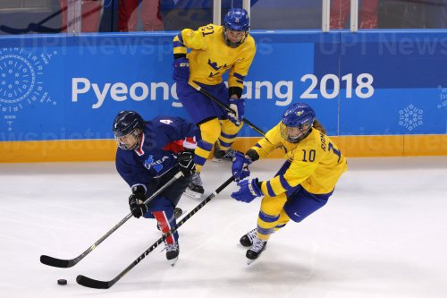 The joint North and South Korean Women's Ice Hockey Team Plays Against Sweden At The 2018 Pyeongchang Winter Olympics