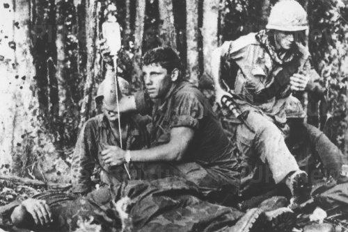Soldier receives plasma during major fighting