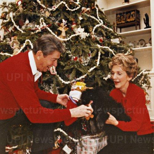 President and Nancy Reagan Give Dog Lucky Christmas Present