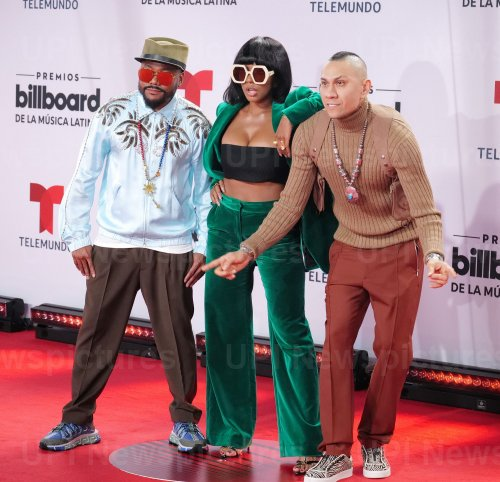 apl.de.ap,, J. Rey Soul, and Taboo of the Black Eyed Peas walk the red carpet at the 2020 Latin Billboard Awards in Sunrise, Florida
