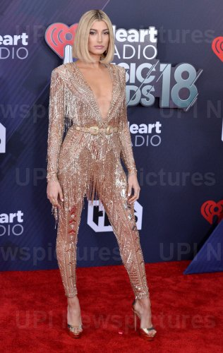 Hailey Baldwin attends the iHeartRadio Music Awards in Inglewood, California