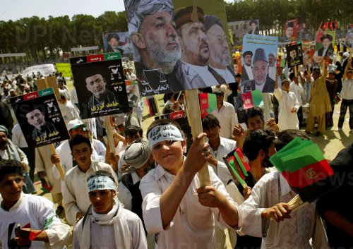 Hamed Karzai campaigns for president in Herat, Afghanistan