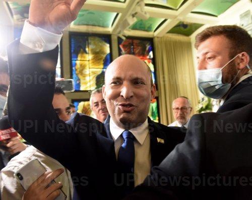 Israeli Prime Minister Naftali Bennett Smiles In The President's Residence In Jerusalem
