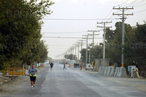 Military personnel exercise at Bagram Airfield in Afghanistan