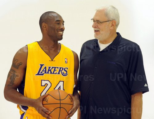 Kobe Bryant and Phil Jackson participate in Lakers media day in El Segundo, California