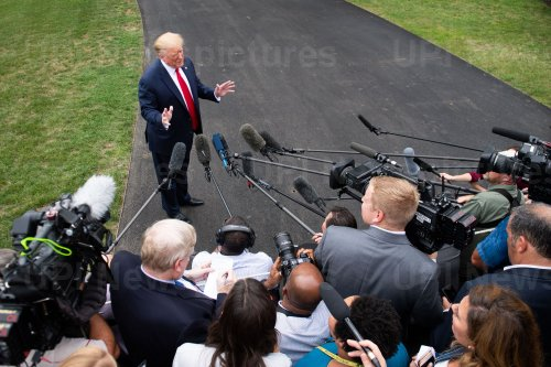 President Trump speaks to the media at the White House