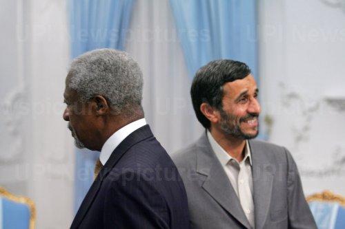 Iran's President Mahmoud Ahmadinejad meets Leader of Lebanese Free Patriotic Movement (FPM) Party Michel Aoun in Tehran