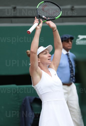 Simona Halep celebrates victory in the Wimbledon Women's Final match against Serena Williams