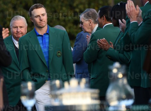Jordan Spieth arrives for Green Jacket ceremony at the Masters