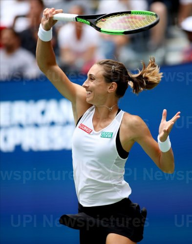Petra Martic returns the ball at the US Open