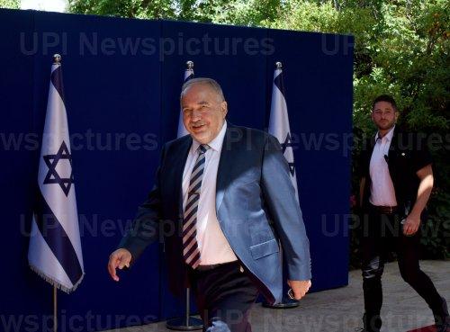 Avigdor Lieberman Arrives At The President's Residence In Jerusalem