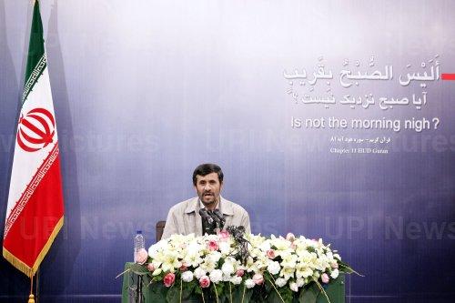 Iran's President Mahmoud Ahmadinejad holds a press conference in Terhan