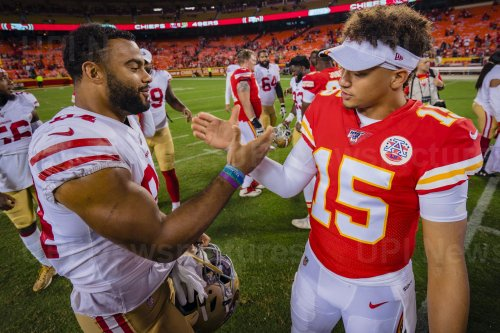 Chiefs Patrick Mahomes and 49ers Kendrick Bourne greet each other at midfield