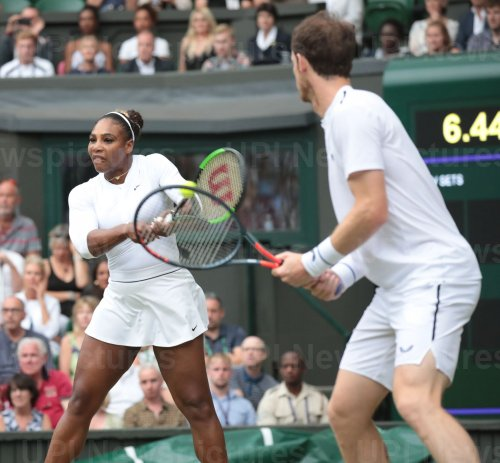 Williams and Murray return the ball in their mixed doubles Second round match at Wimbledon
