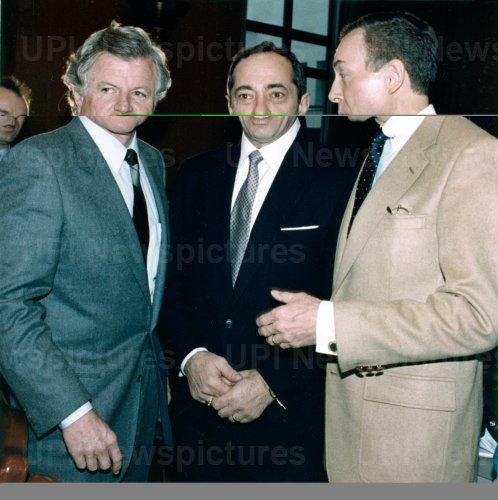 Senators Edward Kennedy, Orrin Hatch and New York Governor Mario Cuomo