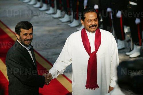 Iran's President Mahmoud Ahmadinejad meets his Sri Lankan counterpart Mahinda Rajapakse