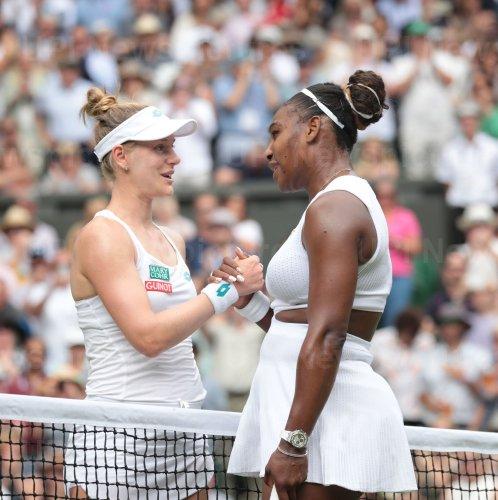 Serena Williams rerturns the ball in her match against Alison Riske