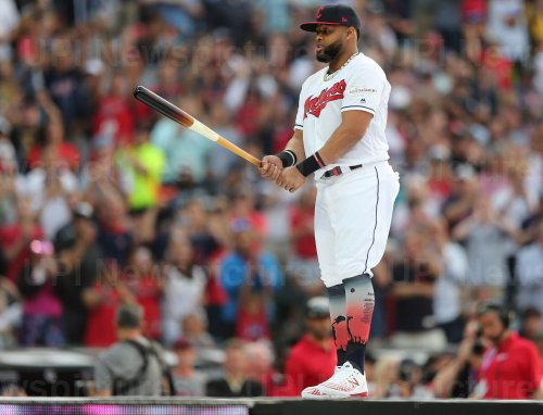 Indians' Carlos Santana during the MLB All-Star Home Run Derby in Cleveland, Ohio