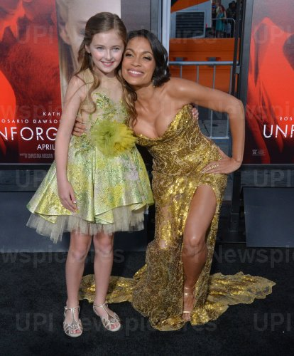 """Isabella Kai Rice and Rosario Dawson attend the """"Unforgettable"""" premiere in Los Angeles"""