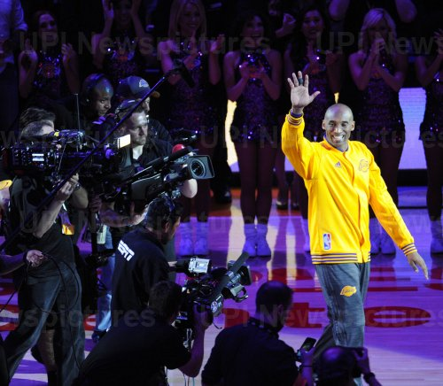 Los Angeles Lakers Kobe Bryant is introduced before his last game against the Utah Jazz