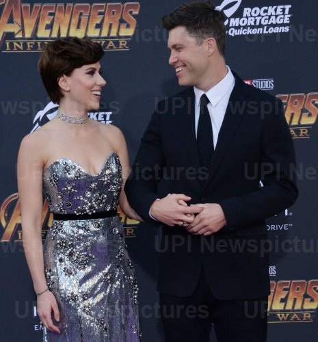 """Scarlett Johansson and Colin Jost atend the """"Avengers: Infinity Wars"""" premiere in Los Angeles"""