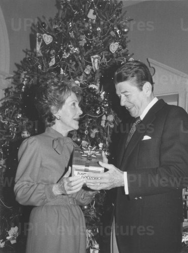 President and Nancy Reagan with Christmas Gift