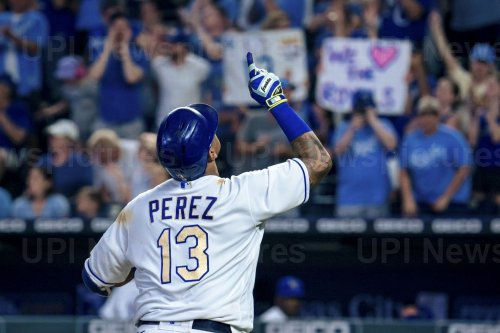 Royals Salvador Perez Rounds the Bases After Hitting a Solo Home Run